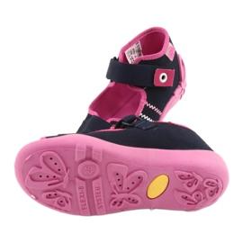 Girls slippers Velcro Befado 242p056 navy blue pink 5
