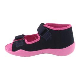 Girls slippers Velcro Befado 242p056 navy blue pink 2