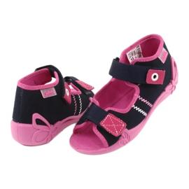 Girls slippers Velcro Befado 242p056 navy blue pink 4