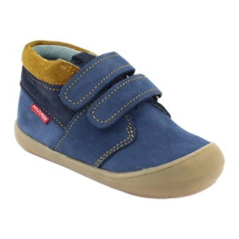 Boys' shoes with Velcro Mazurek 1355 navy blue yellow 1