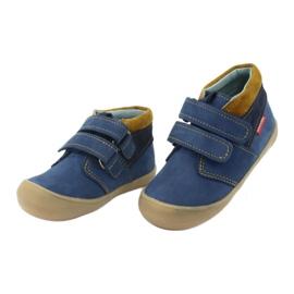 Boys' shoes with Velcro Mazurek 1355 navy blue yellow 3