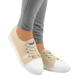 Beige classic sneakers QW8371-3 brown 1