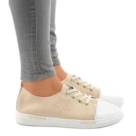 Beige classic sneakers QW8371-3 brown 2