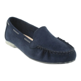 Women's suede loafers Sergio Leone 722 navy blue 1
