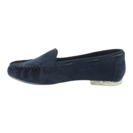 Women's suede loafers Sergio Leone 722 navy blue 2