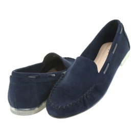 Women's suede loafers Sergio Leone 722 navy blue 4