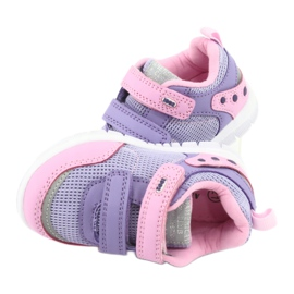 American Club ES23 two Velcro trainers violet pink 6