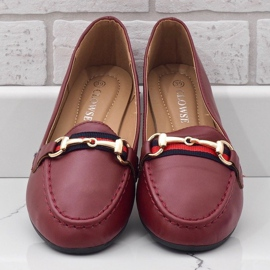 Burgundy loafers ballerinas with eco-leather 9F177 red 2