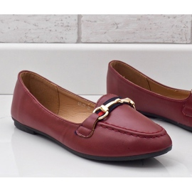 Burgundy loafers ballerinas with eco-leather 9F177 red 3