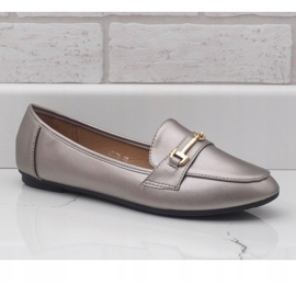 Silver ballet loafers made of eco-leather 9F176 grey 1