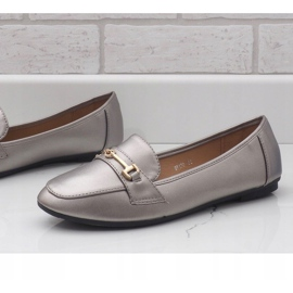 Silver ballet loafers made of eco-leather 9F176 grey 2