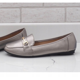 Silver ballet loafers made of eco-leather 9F176 grey 3