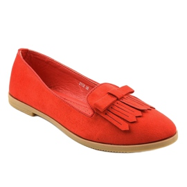 Red lords loafers from eco-suede 2358 1