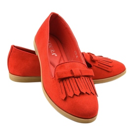 Red lords loafers from eco-suede 2358 2