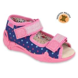 Befado yellow children's shoes 342P007 navy blue pink 1