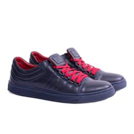 KENT Elon Men's Leather Sneakers navy 1