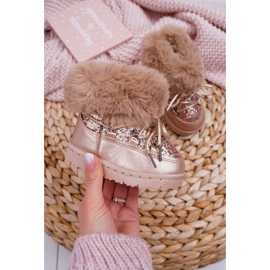 FRROCK Insulated Children's Snow Boots With Fur Champagne Crystal Fox 1