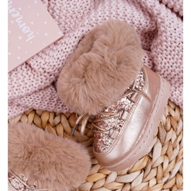 FRROCK Insulated Children's Snow Boots With Fur Champagne Crystal Fox 4