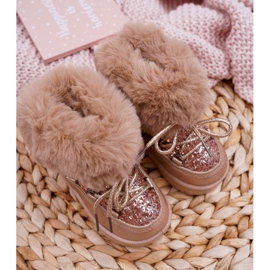 FRROCK Insulated Children's Snow Boots With Fur Champagne Crystal Fox 3