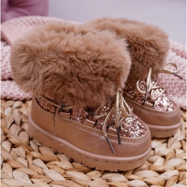 FRROCK Insulated Children's Snow Boots With Fur Champagne Crystal Fox 2