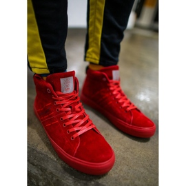 Cross Jeans High Leather Suede Mens Sneakers Red EE1R4055C 2