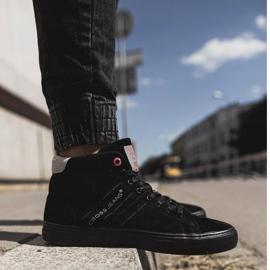Men's Cross Jeans High Leather Suede Black Sneakers EE1R4057C 4