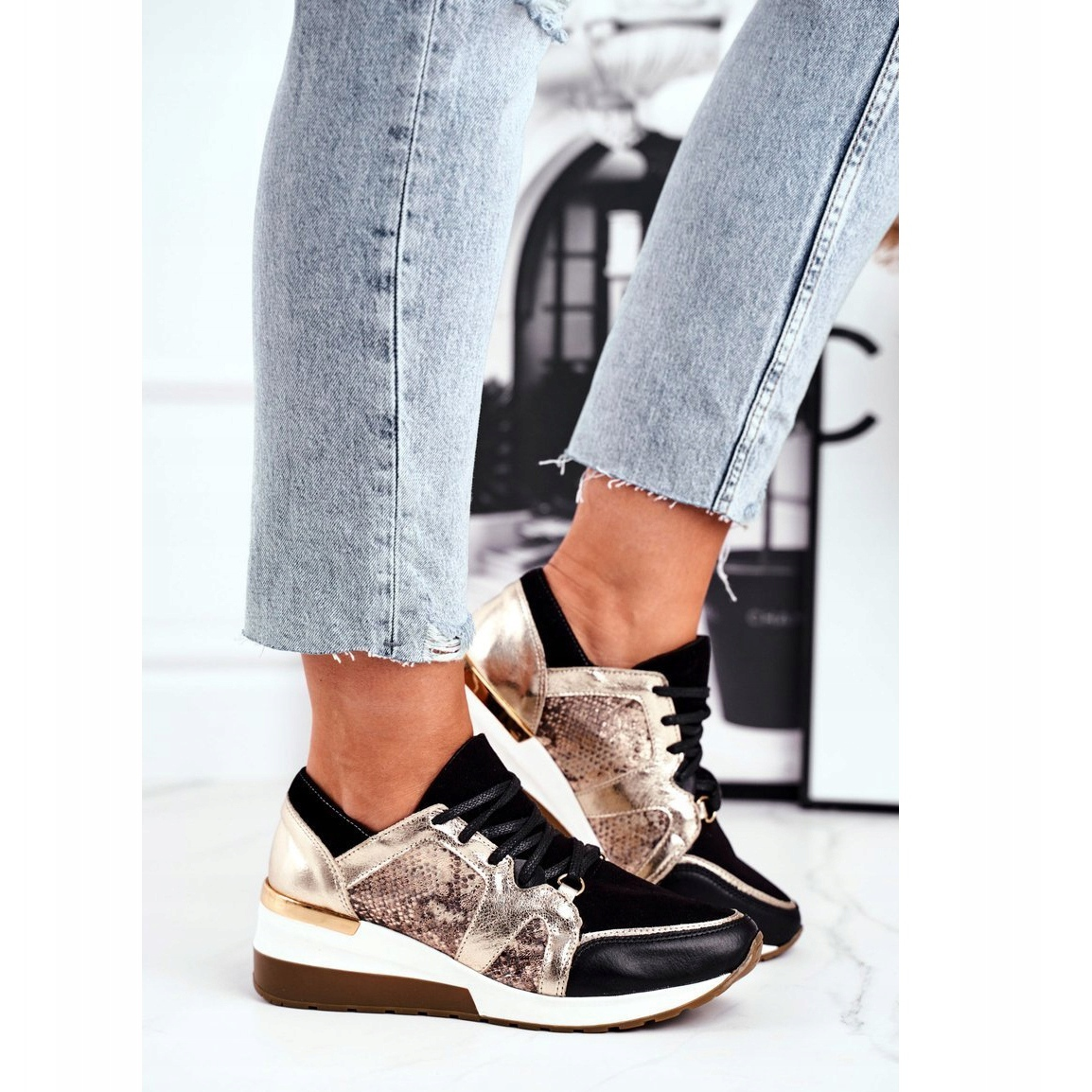 Nicole Gold Sneakers Women's Natural