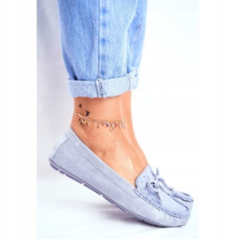 Moccasins for Women Suede S.Barski A199 Blue Wannabe 4