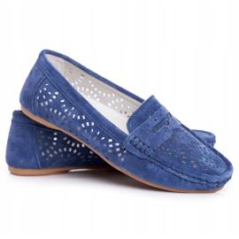 S.Barski Women's Loafers Openwork Leather Navy Blue Salem 5