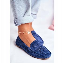 S.Barski Women's Loafers Openwork Leather Navy Blue Salem 3