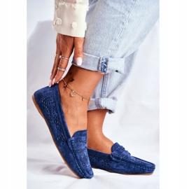 S.Barski Women's Loafers Openwork Leather Navy Blue Salem 1
