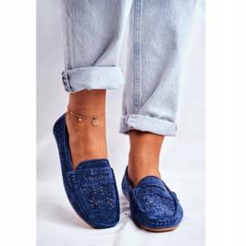 S.Barski Women's Loafers Openwork Leather Navy Blue Salem 2