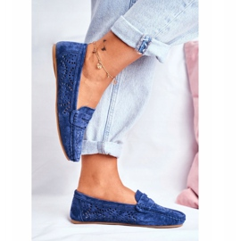 S.Barski Women's Loafers Openwork Leather Navy Blue Salem 4