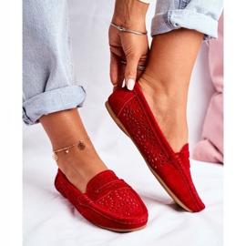 S.Barski Women's Loafers Openwork Leather Red Salem 1