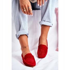 S.Barski Women's Loafers Openwork Leather Red Salem 3