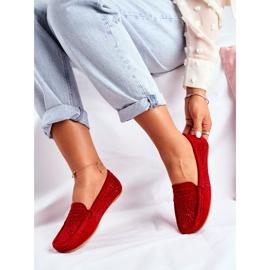 S.Barski Women's Loafers Openwork Leather Red Salem 2