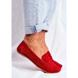 S.Barski Women's Loafers Openwork Leather Red Salem 4