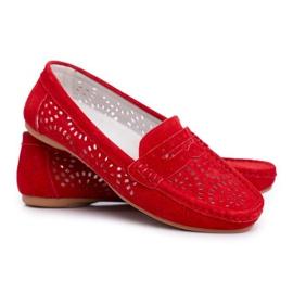 S.Barski Women's Loafers Openwork Leather Red Salem 5