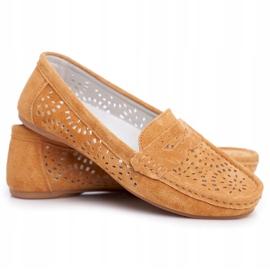 S.Barski Women's Loafers Openwork Leather Camel Salem brown 5