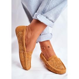 S.Barski Women's Loafers Openwork Leather Camel Salem brown 3