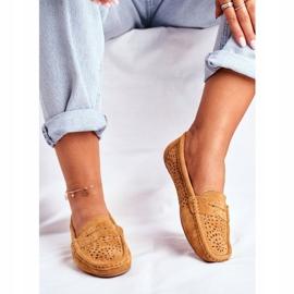 S.Barski Women's Loafers Openwork Leather Camel Salem brown 1