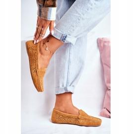 S.Barski Women's Loafers Openwork Leather Camel Salem brown 2