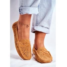 S.Barski Women's Loafers Openwork Leather Camel Salem brown 4