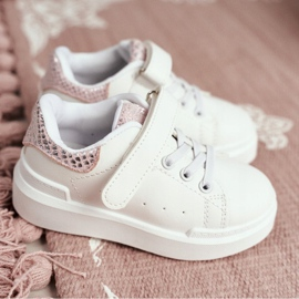 FRROCK Children's Sports Shoes Velcro White Ilonka pink 3