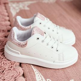 FRROCK Children's Sports Shoes Velcro White Ilonka pink 8