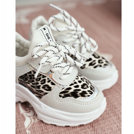 FRROCK Leopard Sport Shoes for Children White Penny grey 4