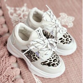 FRROCK Leopard Sport Shoes for Children White Penny grey 1