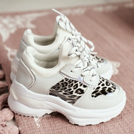 FRROCK Leopard Sport Shoes for Children White Penny grey 3
