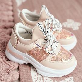 FRROCK Matilda Children's Pink Sports Shoes with Glitter 1