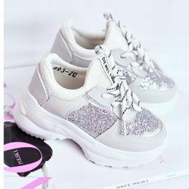 FRROCK Matilda Silver Children's Sports Shoes with glitter white grey 1